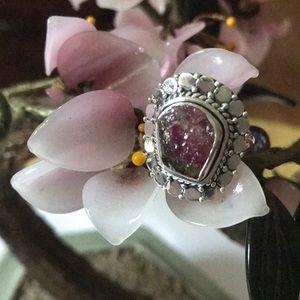 Vintage 925rough  pink tourmaline ring
